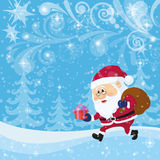 Santa Claus in Christmas Forest Royalty Free Stock Photography