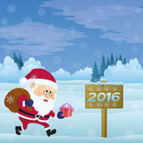 Santa Claus in Christmas Forest. Santa Claus with a Bag of Gifts Walking in Winter Forest Near the Wooden Sign with Inscription 2016, Christmas Cartoon Royalty Free Stock Photos