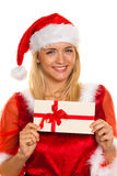 Santa Claus at Christmas with gifts. Royalty Free Stock Image