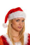 Santa Claus at Christmas with gifts. Stock Photo