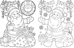 Santa Claus and Christmas gifts vector illustration