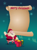 Santa Claus with Christmas Gifts and blank scroll Royalty Free Stock Image