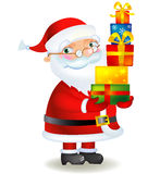 Santa Claus with Christmas gifts. Christmas greeting card with Santa Claus Cartoon Royalty Free Stock Image