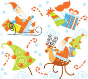 Santa Claus and Christmas gifts pattern Stock Photography