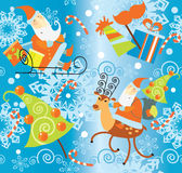 Santa Claus and Christmas gifts pattern Stock Image