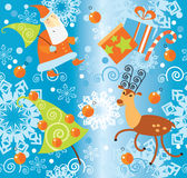 Santa Claus and Christmas gifts pattern Royalty Free Stock Images