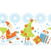 Santa Claus and Christmas gifts pattern. Santa Claus, deer and Christmas gifts pattern picture Royalty Free Stock Images