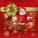 Santa Claus with christmas gifts on red Stock Image