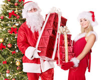 Santa claus and christmas girl. Royalty Free Stock Photography