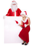 Santa claus and christmas girl holding banner. Stock Image