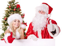 Santa claus and christmas girl holding banner. Royalty Free Stock Image
