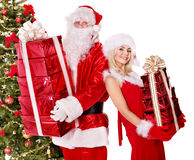 Santa claus and christmas girl. Royalty Free Stock Photo