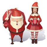 Santa Claus and Christmas girl Stock Images