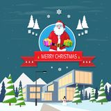 Santa claus on christmas greeting card holding Royalty Free Stock Photo