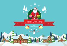 Santa claus on christmas greeting card holding Stock Photography