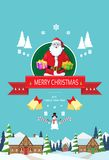 Santa claus on christmas greeting card holding Royalty Free Stock Image