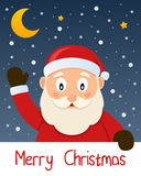 Santa Claus Christmas Greeting Card. Merry Christmas card with a cartoon Santa Claus smiling and greeting, with snow and stars in the blue sky. Eps file stock illustration