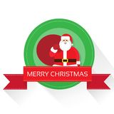 Santa claus on christmas greeting card with merry Royalty Free Stock Photo