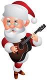 Santa Claus Christmas Guitar Player Cartoon-Art Stockfotos