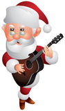 Santa Claus Christmas Guitar Player Cartoon Style Stock Photos