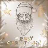 Santa Claus Christmas hand drawn sketch on vintage. Background. Great for greeting cards, holiday design Royalty Free Stock Photos