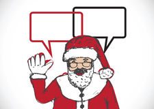 Santa Claus for Christmas hand drawn and talking Speech Bubble Royalty Free Stock Photo