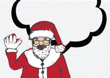 Santa Claus for Christmas hand drawn and talking Speech Bubble Royalty Free Stock Photos
