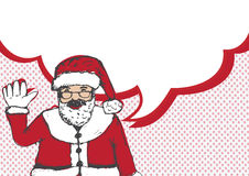 Santa Claus for Christmas hand drawn and talking Speech Bubble Stock Image