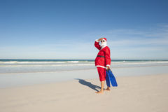 Santa Claus Christmas Holiday Beach Stock Photo