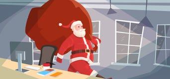 Santa Claus Christmas Holiday Big Present Bag Gift Coming To Home. Flat Vector Illustration Stock Photos