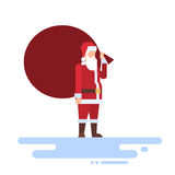 Santa Claus Christmas Holiday Big Present Bag Gift. Flat Vector Illustration Royalty Free Stock Photography