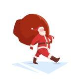 Santa Claus Christmas Holiday Big Present Bag Gift. Flat Vector Illustration Royalty Free Stock Photo