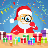 Santa Claus Christmas Holiday Choose Gift Box on. Desk. New Year Present Concept. Vector Illustration Royalty Free Stock Image