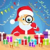 Santa Claus Christmas Holiday Choose Gift-Kasten an stock abbildung