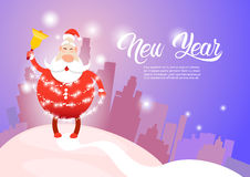 Santa Claus Christmas Holiday Happy New Year Greeting Card Celebration Silhouette City Background. Flat Vector Illustration Stock Photos