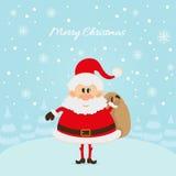 Santa Claus The Christmas-kaart Royalty-vrije Stock Foto's