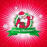 Santa Claus Christmas-kaart Stock Afbeeldingen
