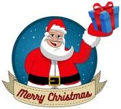 Santa Claus Christmas Merry Xmas Gift Round Frame Royalty Free Stock Photos