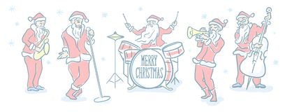 Free Santa Claus Christmas Music Band. Editable Stroke Flat Line Icon. Doodle Sketch Stock Photography - 163246472