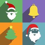Santa claus and christmas  New Year flat design Stock Photos