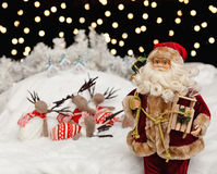 Santa Claus in the Christmas night Royalty Free Stock Images