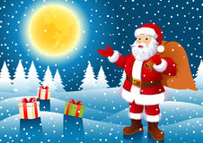Santa Claus in Christmas night Royalty Free Stock Photography