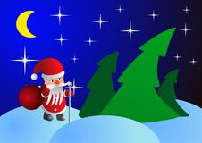 Santa Claus on Christmas night in the woods Royalty Free Stock Photos