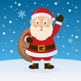 Santa Claus Christmas op de Sneeuw Royalty-vrije Stock Afbeeldingen