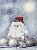 Santa claus with christmas ornaments silver Royalty Free Stock Photography