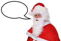 Santa Claus Christmas parlant avec la bulle et le copyspace de la parole photos stock