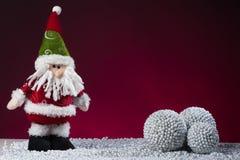 Santa Claus Christmas postcard on red Royalty Free Stock Photo