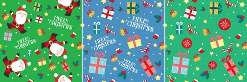 Santa Claus Christmas present seamless pattern set. This is set of three cute colorful Christmas seamless patterns. All elements of the pattern can be used stock illustration