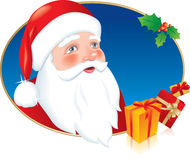 Santa Claus with Christmas presents and Holly vector illustration