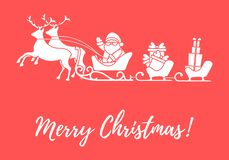 Santa Claus with Christmas presents in sleighs with reindeers. N. Ew Year and Christmas illustration. Design for greeting card, banner, poster or print royalty free illustration